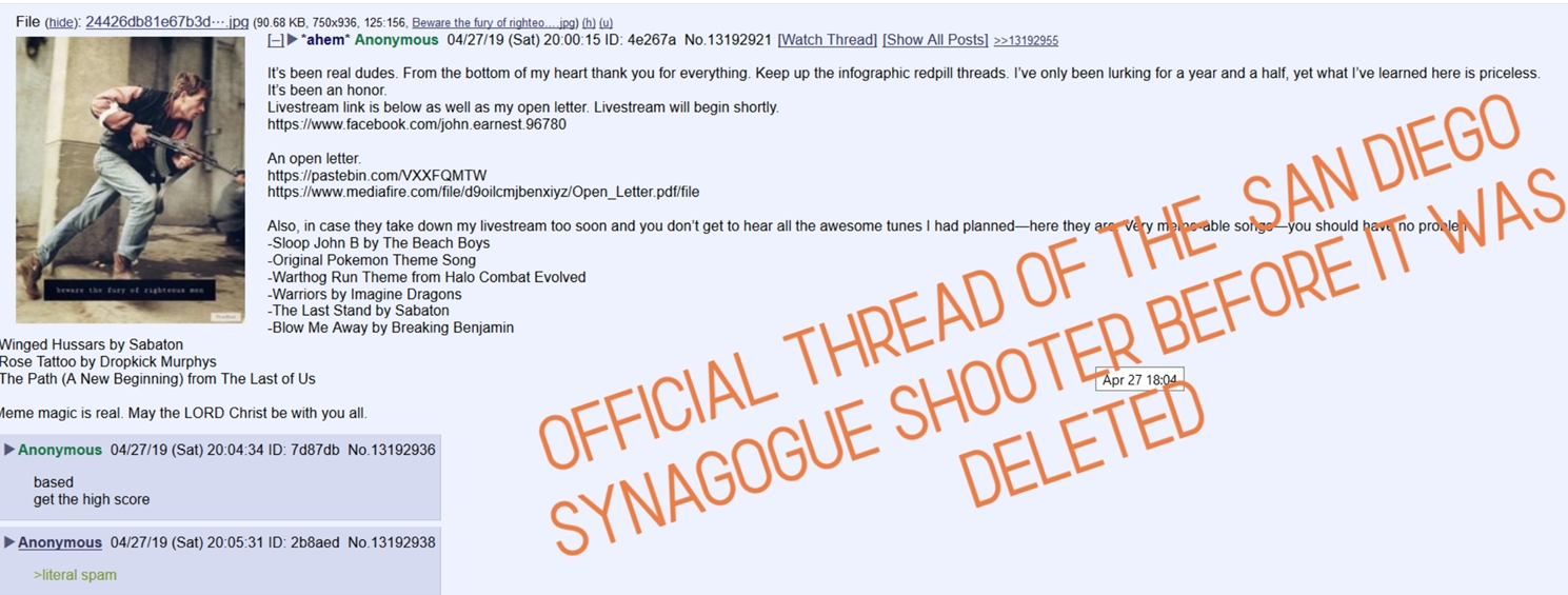 bellingcat - Ignore The Poway Synagogue Shooter's Manifesto: Pay