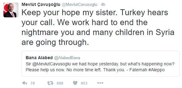 Image 26: Tweet from Minister of Foreign Affairs of Turkey to @AlabedBana